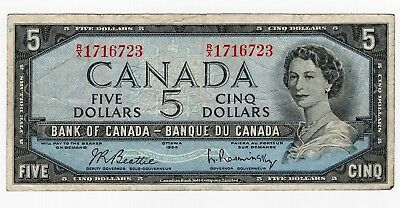 1954 Bank Of Canada Five 5 Dollar Bank Note Rx 1716723 Nice Bill