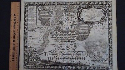 Antique map Delineatio Camporum Pufendorf 1697 Zarnow Poland Sweden battle scene