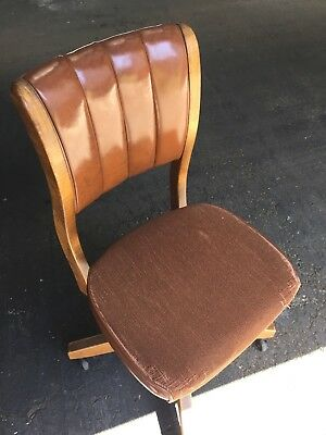 Antique Oak and Leather Desk Chair