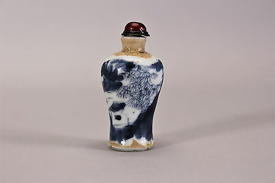 Antique Chinese Snuff Bottle Blue and White Porcelain 19th Century Qing Dynasty