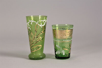 2 Antique Bohemian Green Glass Cordials Painted Floral White and Gold 19thC