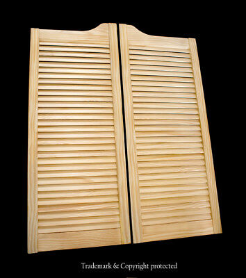 "CAFE DOOR PINE LOUVERED 24"" 30"" 32"" or 36""W Saloon Swinging Bar w Gravity Hinges"