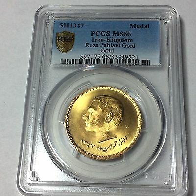 IRAN, PERSIA, M.R.PAHLAVI,10,000TH DAY OF HIS REIGN,,SH1347 GOLD MEDAL, 20.30g