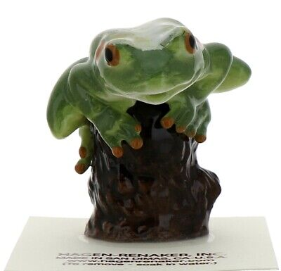 Green Tree Frog on Stump Miniature Ceramic Figurine Handmade by Hagen-Renaker