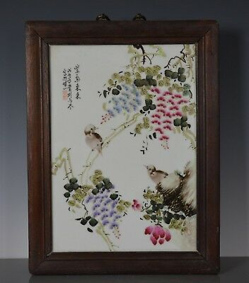 Fine Antique Chinese Porcelain Plaque Famille Rose Marked Master Liu Yucen Sa591