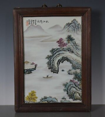 Stunning Antique Chinese Porcelain Plaque Famille Rose Marked Wang Yeting Bg9925