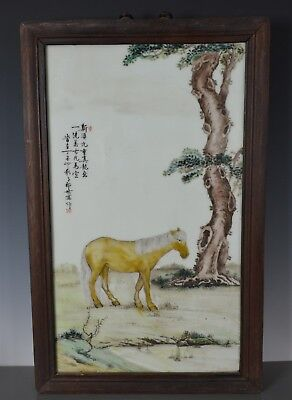 Magnificent Antique Chinese Porcelain Plaque Famille Rose Marked Lang Shining