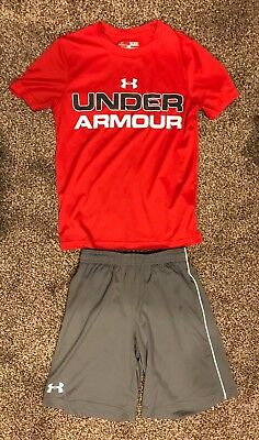 Under Armour Boys Shirt Shorts Lot Size Small (Excellent Used Condition)