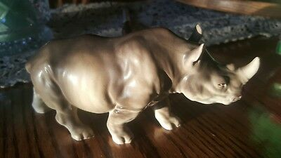 "VINTAGE 7"" RELCO HAND DECORATED JAPAN PORCELAIN Rhinoceros FIGURINE"