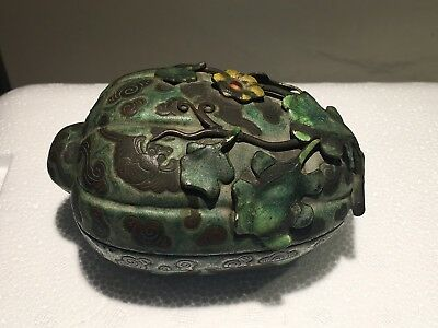 Chinese Enameled Melon Box With Bats Around Clouds