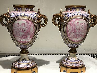 Spectacular 19Th Century French Sevres Ormolu Mounted Painted Urns