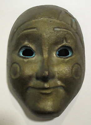 Vintage Antique Brass Mask Unique Expressive Metal Head Face Rare!