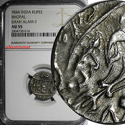India-Princely States BHOPAL Shah Alam II Silver YEAR 44 Rupee NGC AU55 C# 12