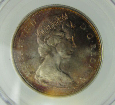Canada 1967 50 Cents Pcgs Ms65 Pretty Toning