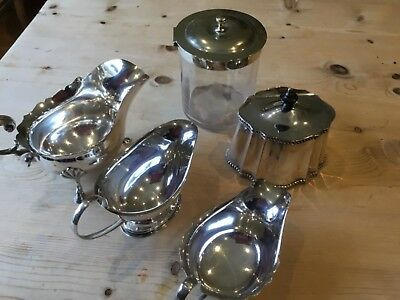 Sauce boats and caddies silver plated (5 items)