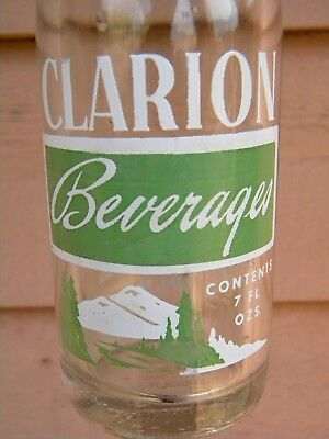 KANE PA. - Vintage ACL SODA BOTTLE - CLARION BEVERAGES - 7 FL. OZS.