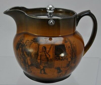 Ridgway Coaching Ways Pitcher with Silverplate Cover Late 19th Century