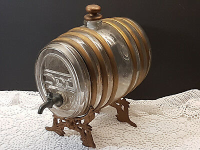 RARE 19th Century c.1860's FRENCH COGNAC KEG BOTTLE with Ormulu Stand Marked EUC