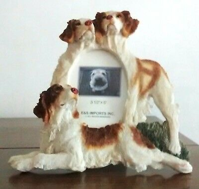 """Brittany Spaniel Dog Picture Frame E &S Imports Resin photo size 3.5x5"""""""