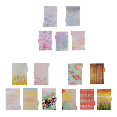 5 Pieces Colorful Tabbed Paper Planner Divider Index Page Tab A5 Notebook