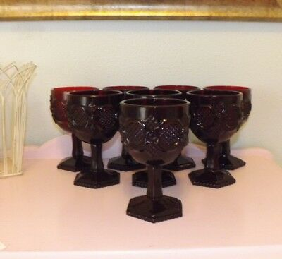 Avon Cape Cod 1876 Water Goblets*Set of 8*Royal Ruby*Red*Excellent