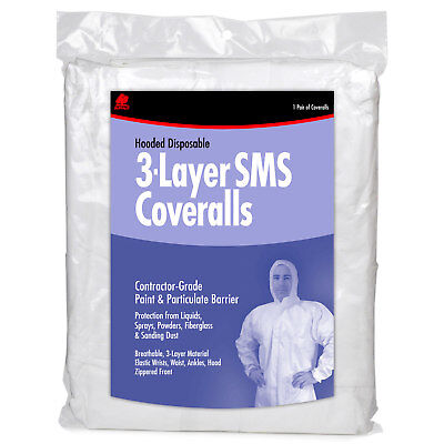 Buffalo 68525 Large Hooded Disposable 3-Layer SMS Coveralls