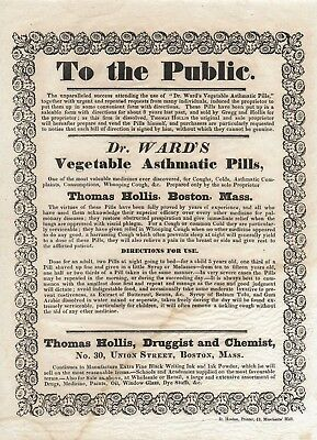 Antique 1834 BROADSIDE Medical Apothecary DR WARD'S VEGETABLE ASTHMATIC PILLS
