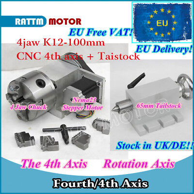【DE】K12-100mm 4th Axis CNC Dividing head/Rotation Axis&Tailstock for CNC Machine