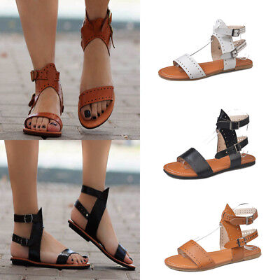 8e9ca0bfdf3 Gladiator Women s Summer Beach Shoes Buckle Strappy Flats Heel Open Toe  Sandals