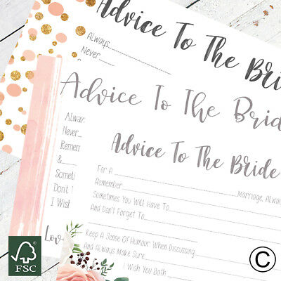 Hen Party Accessories Advice To The Bride Cards Hen Party Games Words Of Wisdom
