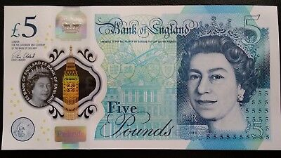 GREAT BRITAIN £5 Pounds 2016 Bank of England Cleland Polymer UNC Banknote .