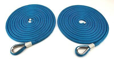8mm Royal Blue Double Braid Polyester Mooring Ropes, 2 x 15 Mts, Stainless Eye