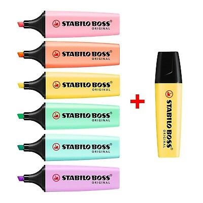 STABILO BOSS Original Pastel Highlighter Pens Highlighter Markers Bumper 7 Pack