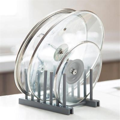 Kitchen Plate Cup Rack Pot Lid Holder Plastic Drying Storage Stand Organizer B