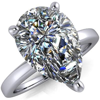 Certified 3 Ct White Pear Diamond 3 Pro Engagement Wedding Ring 14K White Gold