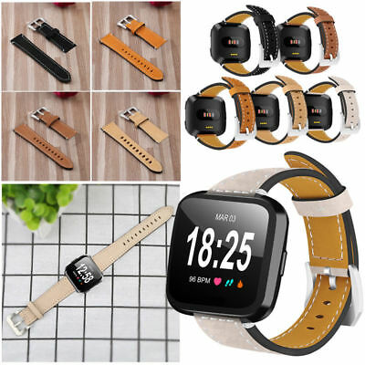 Genuine Leather Replacement Watch Wrist Band Strap for Fitbit Versa Bracelet