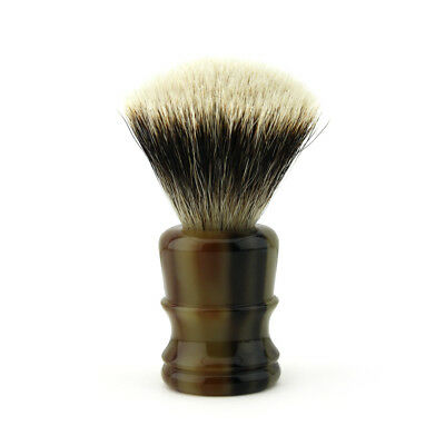 Silver Tip Badger Hair Shaving Brush Horn Replica Handle Hand-Crafted in England