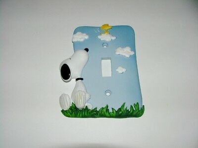 """peanuts"" Westland Snoopy & Woodstock Blue Light Switch Plate - Mint Condition"