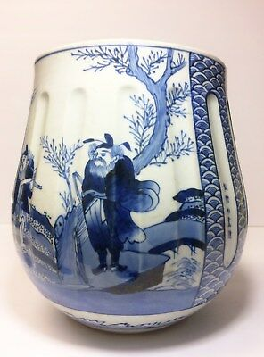 Vintage Chinese Porcelain Pot W/ Calligraphy Landscape And figures
