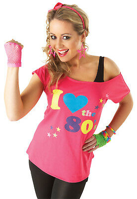 Rubies I love the 80s pink t shirt womans fancy dress top small medium large