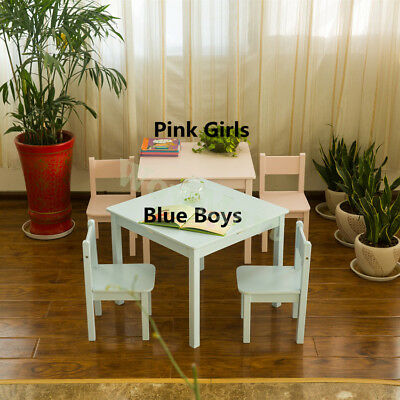 New Kids Wooden 60cm Table and 2 Chair Set Baby Pink or Blue Color