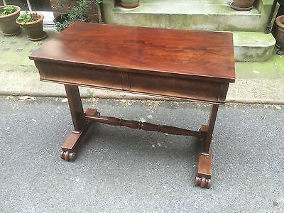 Victorian Mahogany Side Table - with turned stretcher and scroll feet