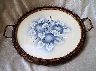 Antique German Ceramic Tray with Wicker Handle Server-1900's