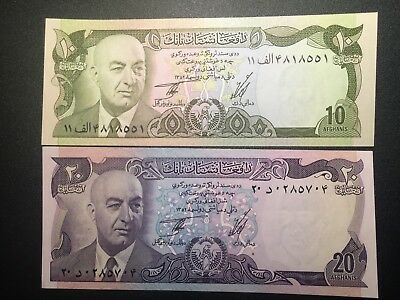 Afghanistan 10 and  20  Afghanis lot XF+/aUnc