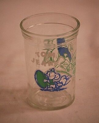 1991 Welch's Tom & Jerry Football Jelly Jar Glass Cup Animation Art Character