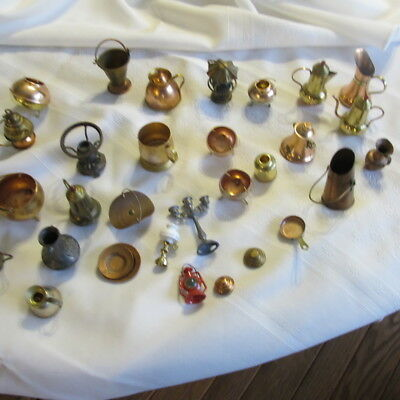 Lot of Vintage Miniature Copper Gold Tone Mixed Metals Doll House Diorama