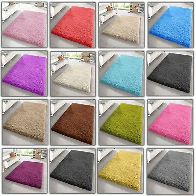 Soft Large X Small Thick High Quality Shaggy Rug Plain 5cm Pile Bedroom Rugs