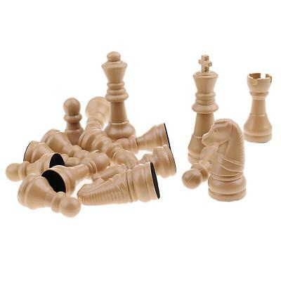 16pcs Replacement Plastic Chess Pieces/Chessmen Set Beige
