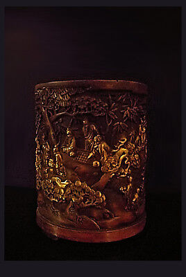 A Very Large Chinese Bronze Parcel-Gilt Brush Pot W. Figures In Landscape