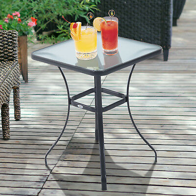 Glass Top Bistro Table Square Outdoor Side Table Portable Backyard